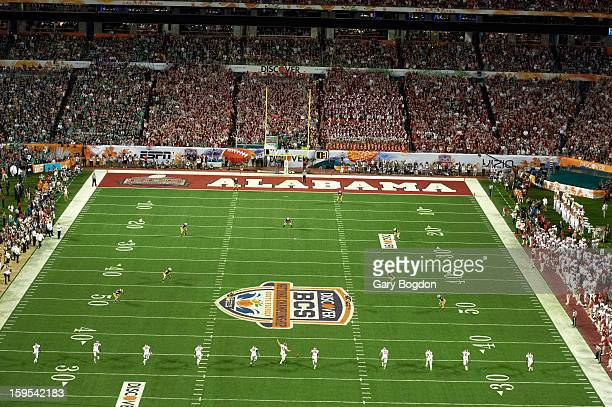 BCS National Championship Aerial view of field during opening kickoff of Alabama vs Notre Dame game at Sun Life Stadium Miami Gardens FL CREDIT Gary...
