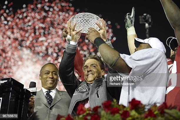 National Championship: Alabama coach Nick Saban victorious with AFCA The Coaches' Trophy after winning game vs Texas at Rose Bowl Stadium. Pasadena,...