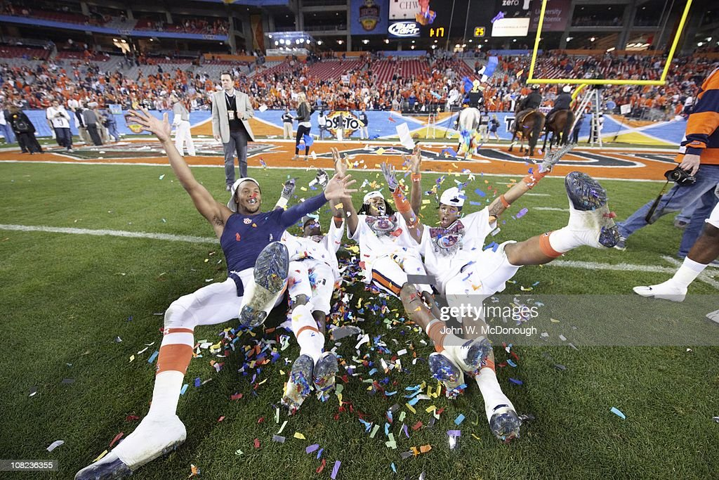 Auburn Players Victorious During Celebration After Winning