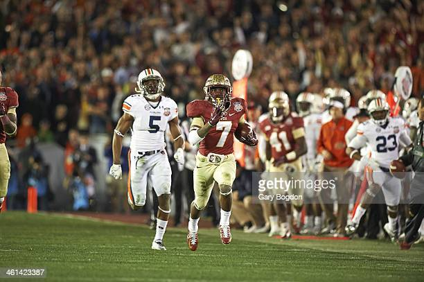 BCS National Championship Florida State Levonte Whitfield in action scoring touchdown during 4th quarter 100yard kickoff return vs Auburn at Rose...