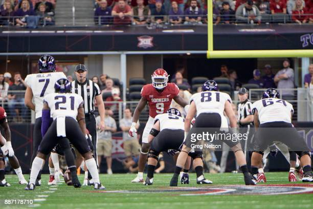 Big 12 Championship Oklahoma Kenneth Murray at line of scrimmage during game vs Texas Christian at ATT Stadium Dallas TX CREDIT Greg Nelson