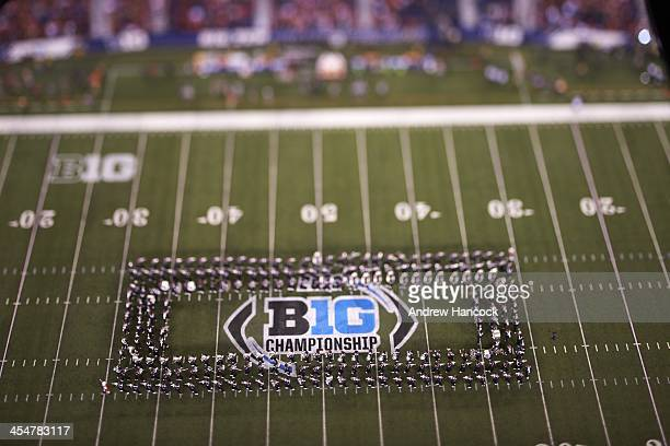 Big Ten Championship Aerial view of marching band on field during Michigan State vs Ohio State game at Lucas Oil Stadium Indianapolis IN CREDIT...