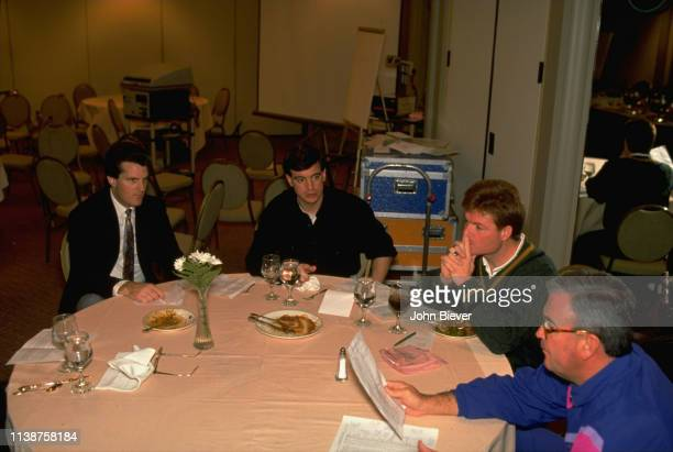Casual portrait of ESPN NFL Draft analyst Mel Kiper Jr seated during meeting before draft show Mobile AL CREDIT John Biever