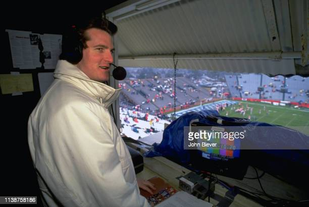 Casual portrait of ESPN NFL Draft analyst Mel Kiper Jr in media booth during telecast of Senior Bowl at LaddPeebles Stadium Mobile AL CREDIT John...