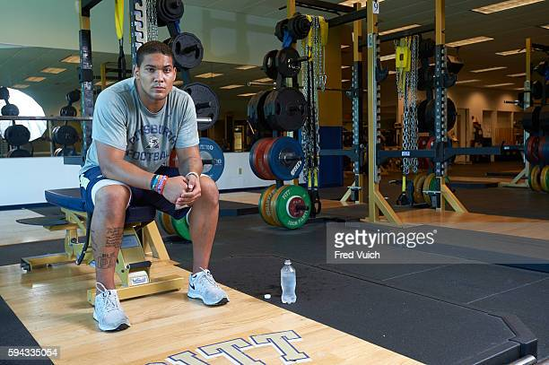 Casual portrait of Pittsburgh running back James Conner in weight room during training session photo shoot at UPMC Sports Performance Complex The...