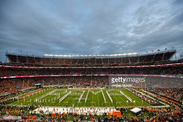 CFP National Championship Aerial view of Alabama marching band performing on field before game vs Clemson at Levi's Stadium Santa Clara CA CREDIT...
