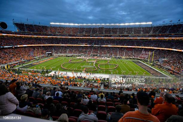 CFP National Championship Aerial view of Clemson marching band performing on field before game vs Alabama at Levi's Stadium Santa Clara CA CREDIT...