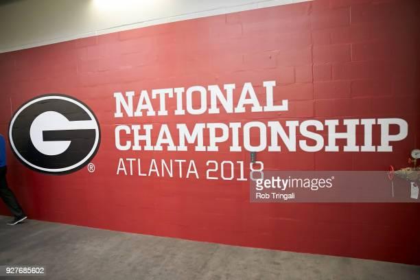 CFP National Championship Closeup of University of Georgia logo on wall in tunnel before game vs Alabama at MercedesBenz Stadium Atlanta GA CREDIT...