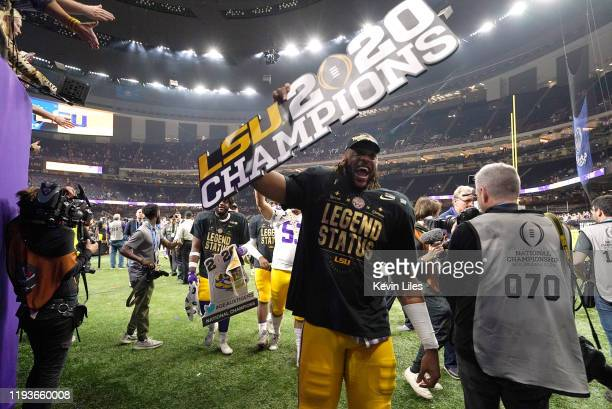 National Championship: LSU Damien Lewis victorious, walking off field after winning game vs Clemson at Mercedes Benz Superdome. New Orleans, LA...