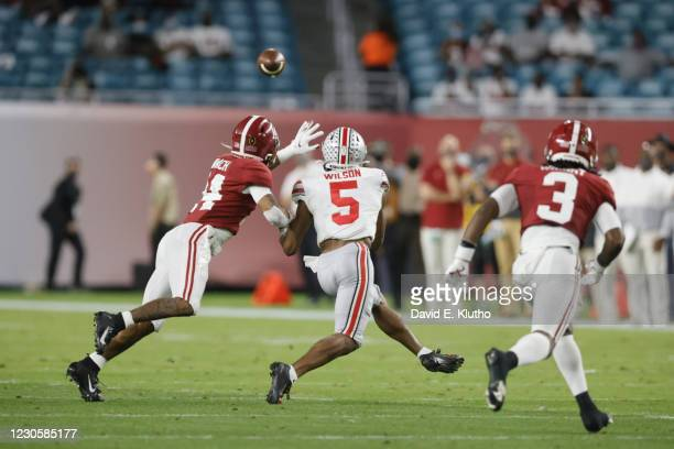 National Championship: Ohio State Garrett Wilson in action vs Alabama Brian Branch at Hard Rock Stadium. Miami Gardens, FL 1/11/2021 CREDIT David E....