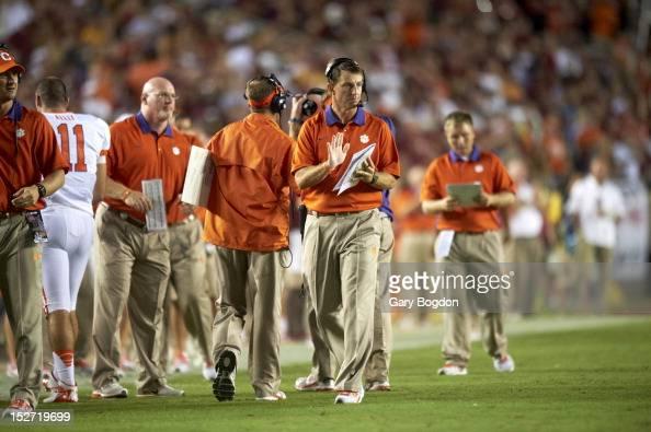 Clemson coach Dabo Swinney on sidelines during game vs ...