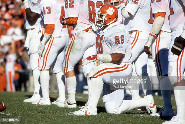 Clemson William Perry kneeling on field during game vs North Carolina at Kenan Memorial Stadium Chapel Hill NC CREDIT Paul Kennedy