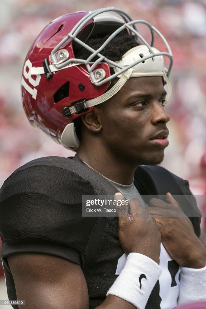 Closeup Of Alabama Chris Howard On Sidelines Bench During Crimson Vs