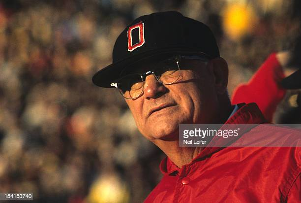 Closeup of Ohio State head coach Woody Hayes on sidelines during game vs Michigan at Michigan Stadium Ann Arbor MI CREDIT Neil Leifer