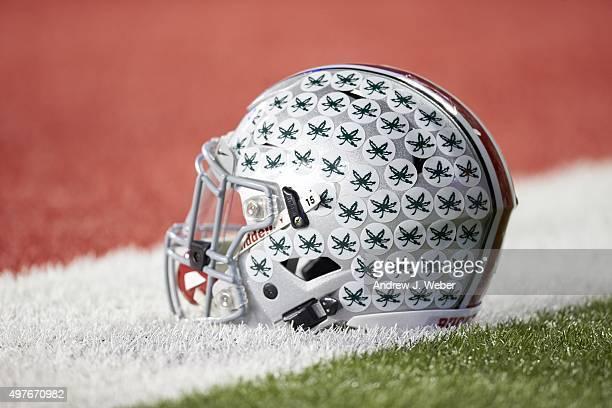 Closeup of Ohio State helmet on field before game vs Minnesota at Ohio Stadium Equipment Columbus OH CREDIT Andrew J Weber