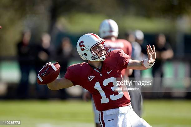 Closeup of Stanford QB Robbie Picazo in action during Monday practice at Elliott Practice Fields Stanford CA CREDIT Jed Jacobsohn