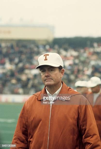 Closeup of Texas head coach Darrell Royal during game vs Arkansas at Razorback Stadium. Texas defeats Arkansas 15-14 in a matchup of the two...