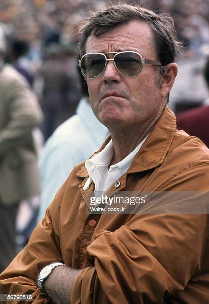 Closeup of Texas head coach Darrell Royal on sidelines during game vs Texas A&M at Kyle Field. College Station, TX CREDIT: Walter Iooss Jr.