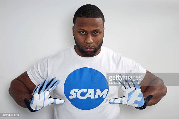 Closeup portrait of former North Carolina fullback Devon Ramsay during photo shoot at his home Ramsay who was declared ineligible after the NCAA...