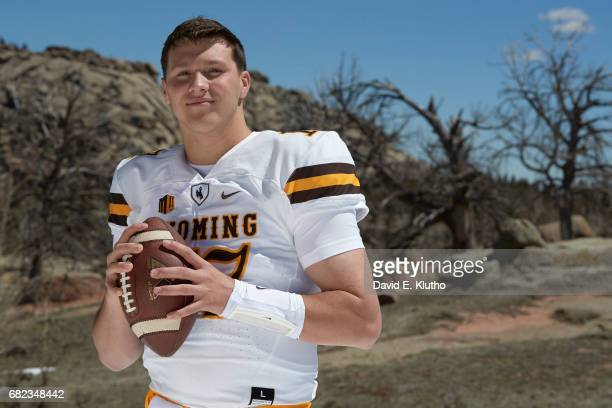 Closeup portrait of Wyoming QB Josh Allen during photo shoot at Vedauwoo National Park Laramie WY CREDIT David E Klutho