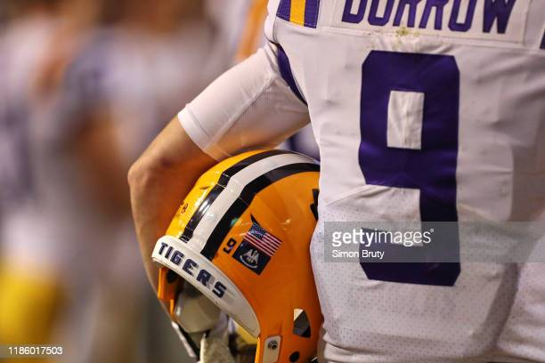 Closeup rear view of LSU QB Joe Burrow holding helmet during game vs Arkansas at Tiger Stadium. Equipment. Baton Rouge, LA CREDIT: Simon Bruty