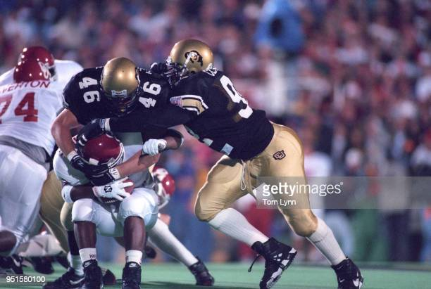 Colorado Ted Johnson in action rushing vs Oklahoma Jerald Moore at Folsom Field Boulder CO CREDIT Tom Lynn
