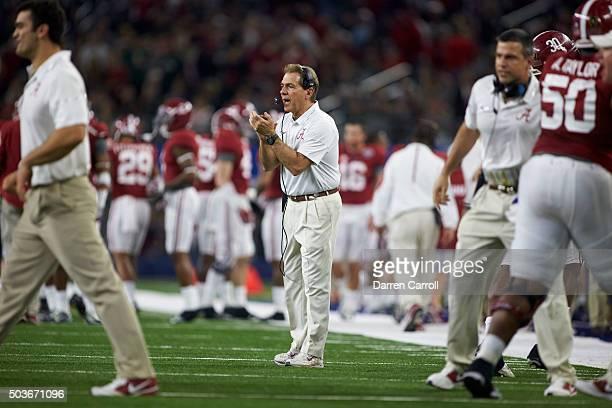 Cotton Bowl: Alabama coach Nick Saban on field during game vs Michigan State during College Football Playoff Semifinal at AT&T Stadium. Arlington, TX...