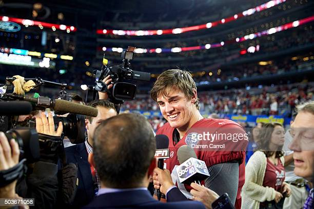 Cotton Bowl: Alabama QB Jake Coker during interview on field after winning game vs Michigan State during College Football Playoff Semifinal at AT&T...