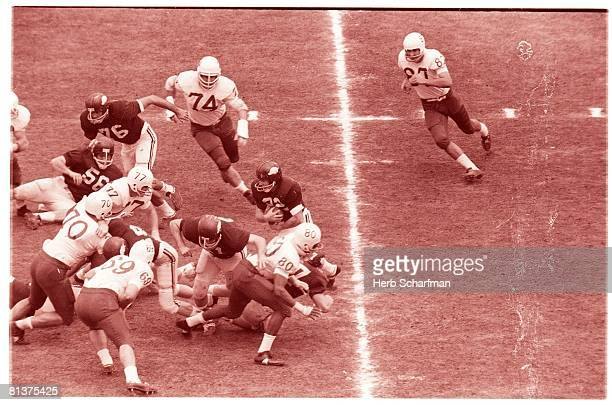 College Football Cotton Bowl Arkansas Jerry Jones in action making block for Jack Brasuell during game vs Nebraska Dallas TX 1/1/1965