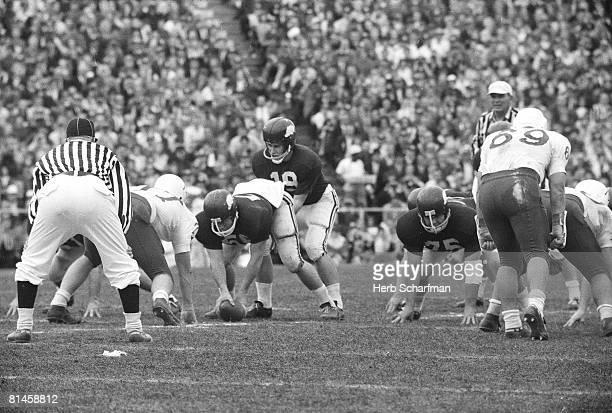 College Football Cotton Bowl Arkansas QB Fred Marshall at line of scrimmage during game vs Nebraska Dallas TX 1/1/1965