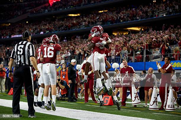 Cotton Bowl: Rear view of Alabama Calvin Ridley victorious during game vs Michigan State during College Football Playoff Semifinal at AT&T Stadium....