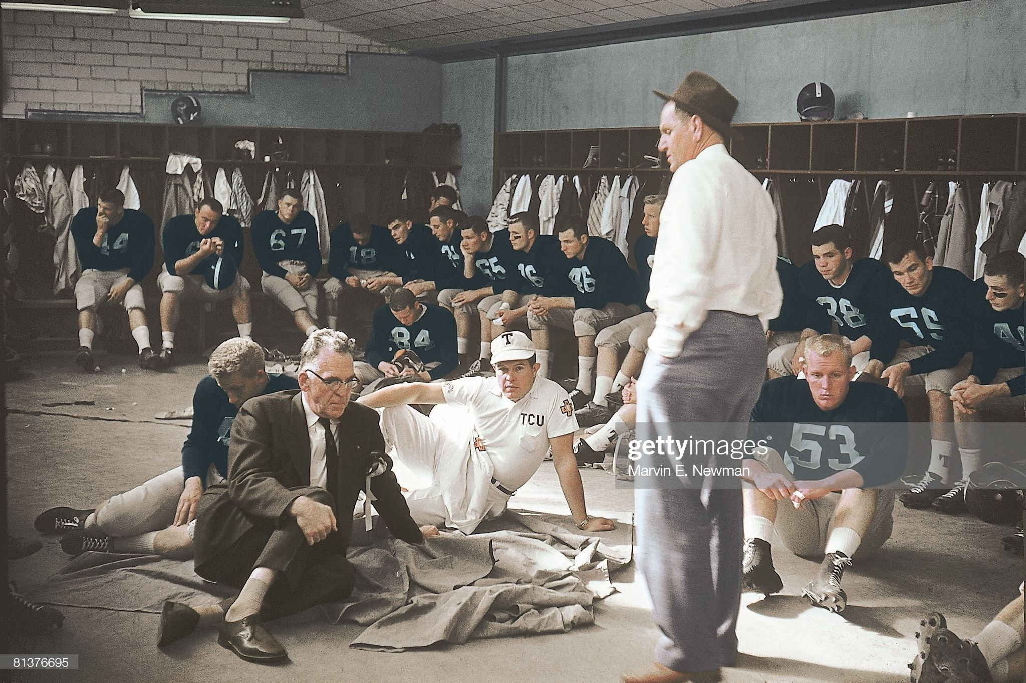 college-football-cotton-bowl-tcu-coach-othal-abe-martin-with-team-in-picture-id81376695
