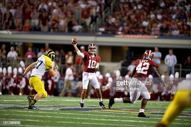 Cowboys Classic Alabama QB AJ McCarron in action passing vs Michigan at Cowboys Stadium Arlington TX CREDIT David E Klutho