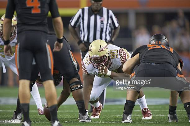Cowboys Classic Florida State Eddie Goldman at line of scrimmage during game vs Oklahoma State at ATT Stadium Arlington TX CREDIT Greg Nelson