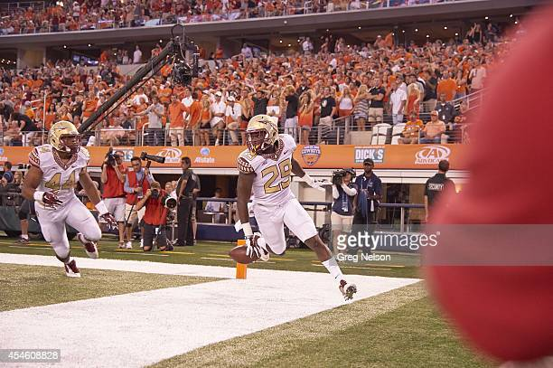 Cowboys Classic Florida State Nate Andrews in action returning interception for touchdown vs Oklahoma State at ATT Stadium Arlington TX CREDIT Greg...