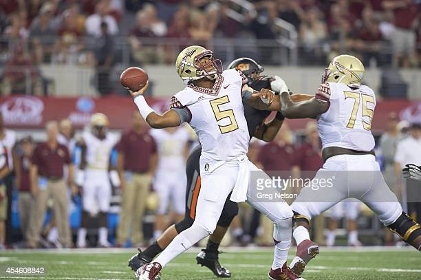 Cowboys Classic Florida State QB Jameis Winston in action passing vs Oklahoma State at ATT Stadium Arlington TX CREDIT Greg Nelson