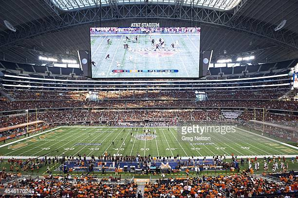 Cowboys Classic Overall view of Florida State QB Jameis Winston in action passing vs Oklahoma State at ATT Stadium HD video screen Arlington TX...