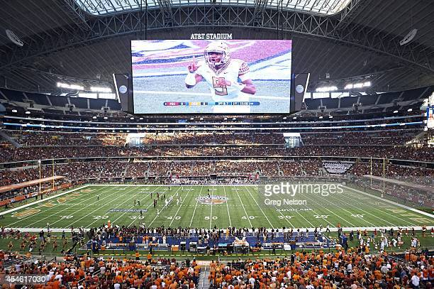 Cowboys Classic Overall view of Florida State QB Jameis Winston calling signals during game vs Oklahoma State at ATT Stadium HD video screen...
