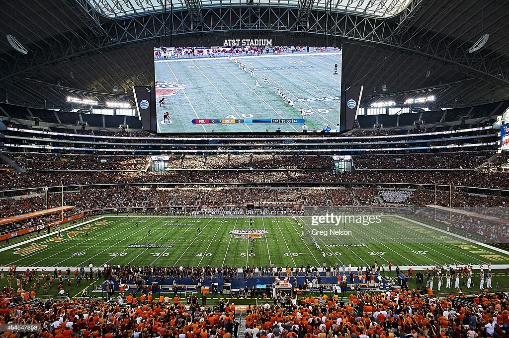 Florida state university vs oklahoma state university 2014 overall view of hd video screen above field during florida state vs oklahoma state game at voltagebd