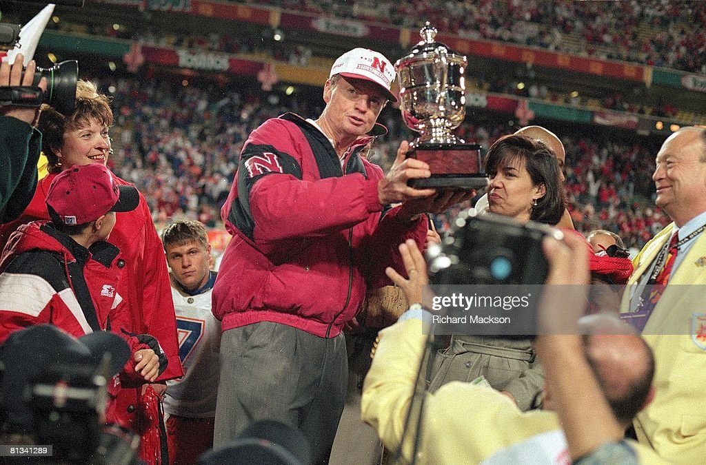 college-football-fiesta-bowl-nebraska-coach-tom-osborne-victorious-picture-id81341289