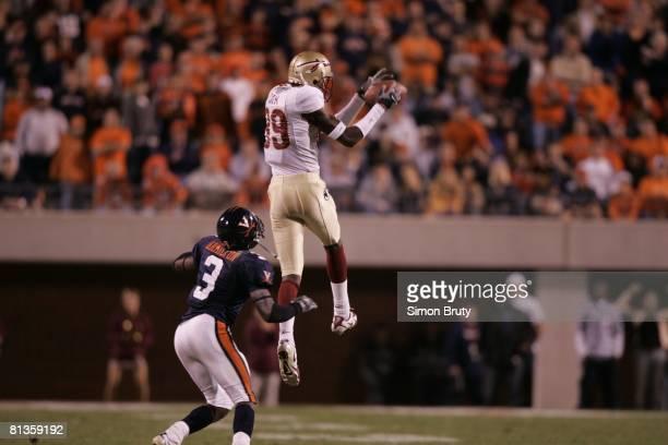 College Football: Florida State Greg Carr in action, attempting catch vs Virginia Marcus Hamilton , Charlottesville, VA