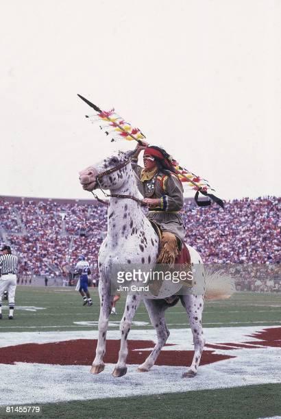 College Football Florida State Seminole mascot on horse animal during game vs Duke Tallahassee FL