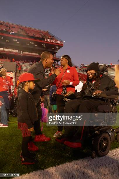 Former Rutgers players Ray Rice and Eric LeGrand on field before game vs Ohio State at High Point Solutions Stadium New Brunswick NJ CREDIT Carlos M...