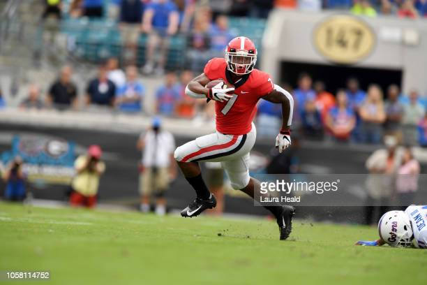 Georgia D'Andre Swift in action rushing vs Florida at TIAA Bank Field Jacksonville FL CREDIT Laura Heald