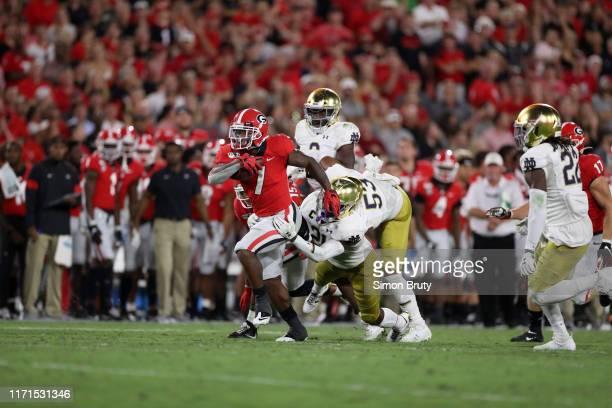 Georgia D'Andre Swift in action rushing vs Notre Dame at Sanford Stadium Athens GA CREDIT Simon Bruty