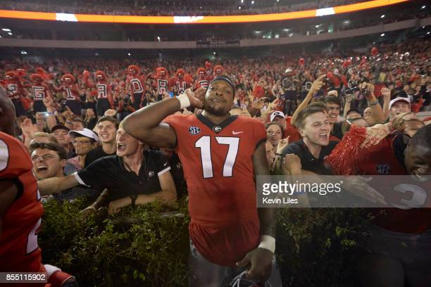 Georgia Davin Bellamy victorious after game vs Mississippi State at Sanford Stadium Athens GA CREDIT Kevin Liles
