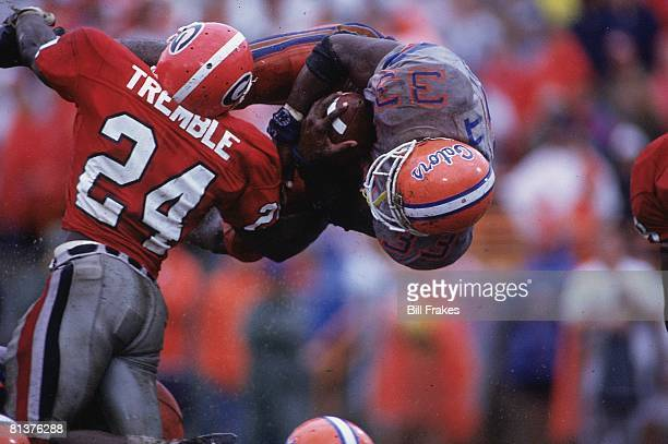 College Football Georgia Greg Tremble in action making tackle vs Florida Errict Rhett Jacksonville FL