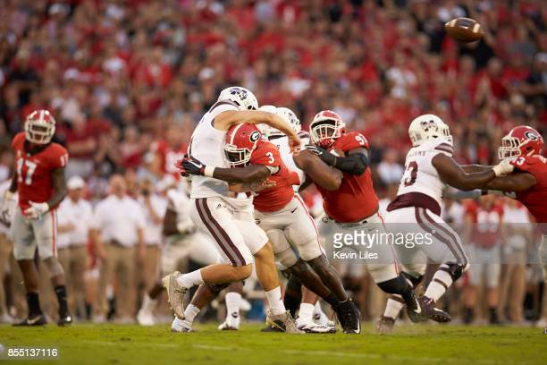 Georgia Roquan Smith in action defense vs Mississippi State QB Nick Fitzgerald at Sanford Stadium Athens GA CREDIT Kevin Liles