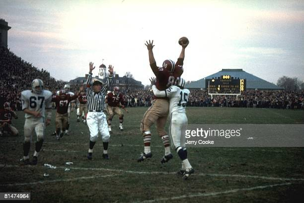 College Football Harvard Pete Varney victorious after making game tying two point conversion catch vs Yale Cambridge MA