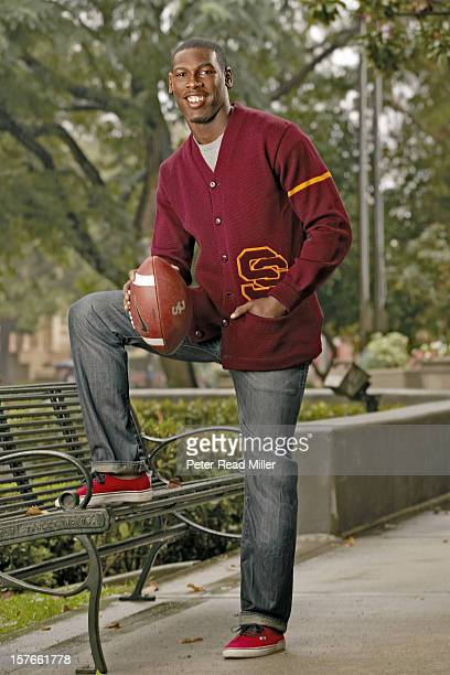 Heisman Trophy Preview Casual portrait of USC wide receiver Marqise Lee during photo at Heritage Hall on USC Campus Los Angeles CA CREDIT Peter Read...